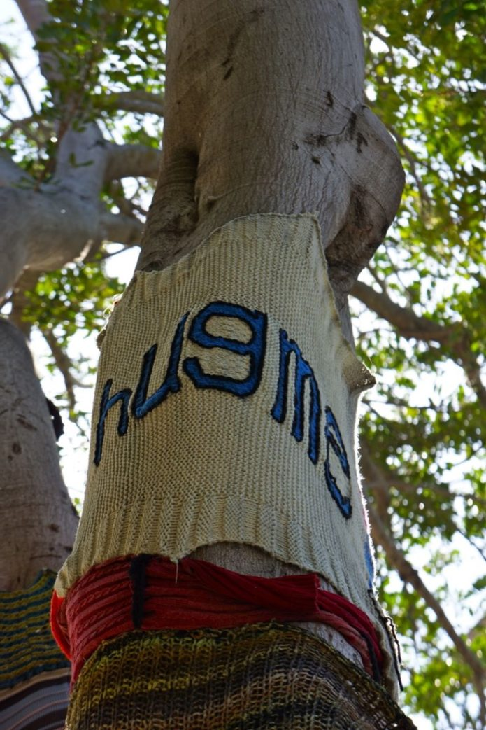 A Season For Giving to Yourself 2 Tree Hugger Knit saying Hug me!