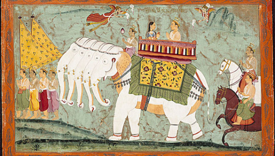 More on Kapha Season Indra and Sachi Riding the Divine Elephant Airavata