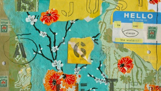 Barbara Sinclair Gallery mixed-media titled Change is Just a Six Letter Word