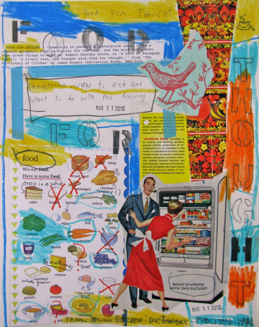Barbara Sinclair Gallery mixed-media titled Food for Thought