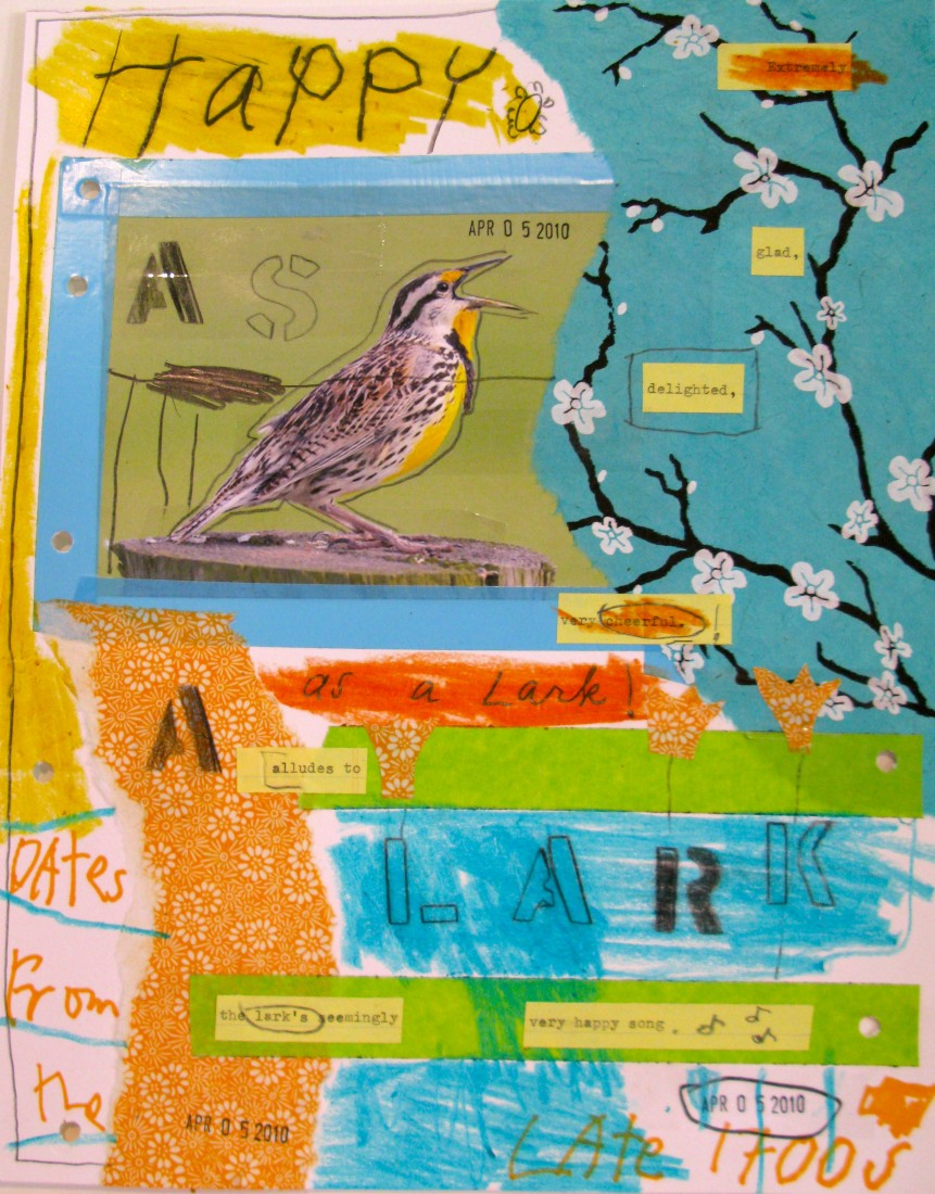 Barbara Sinclair Gallery mixed-media titled Happy as a Lark