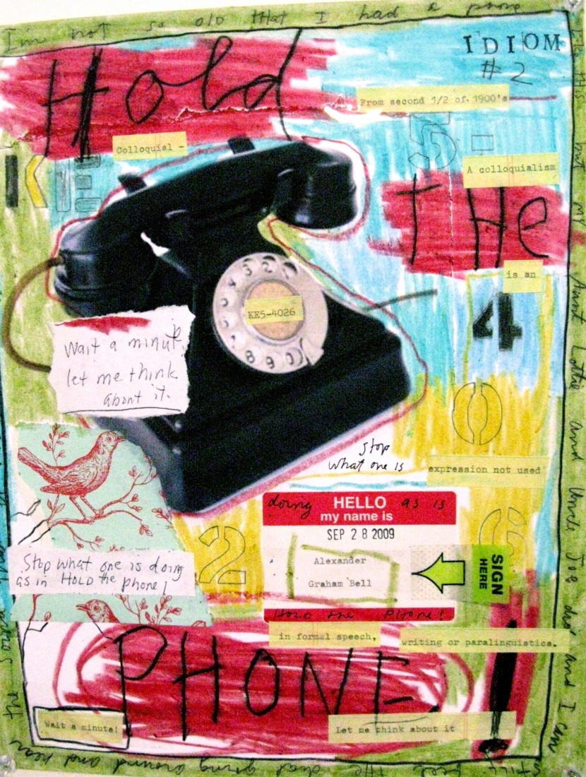 Barbara Sinclair Gallery mixed-media titled Hold The Phone