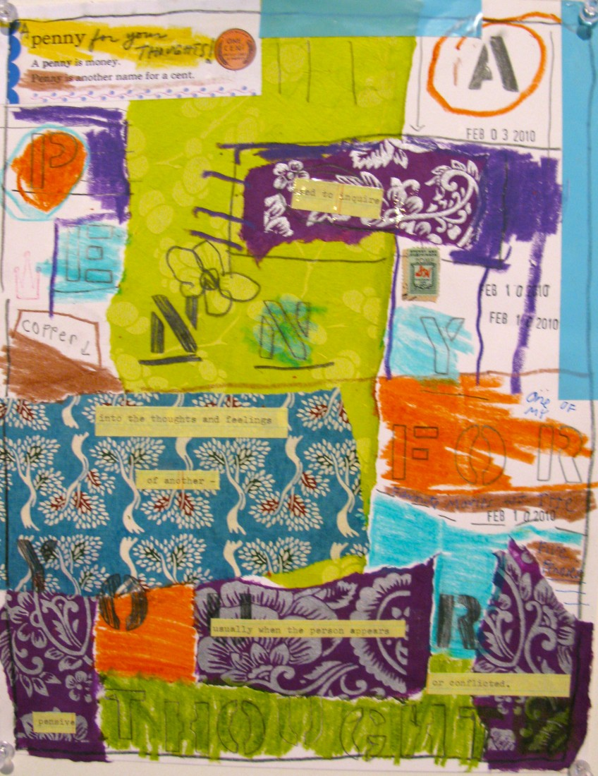 Barbara Sinclair Gallery mixed-media titled Penny for Your Thoughts