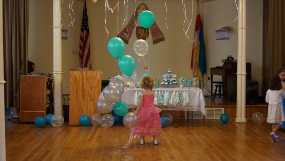 Barbara Sinclair Gallery photo featuring young girls' birthday party with balloons