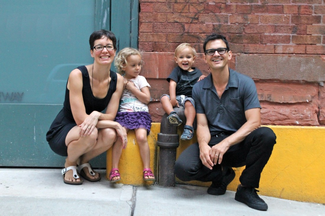 Barbara Sinclair Gallery photo featuring a family of four smiling on a NYC street.