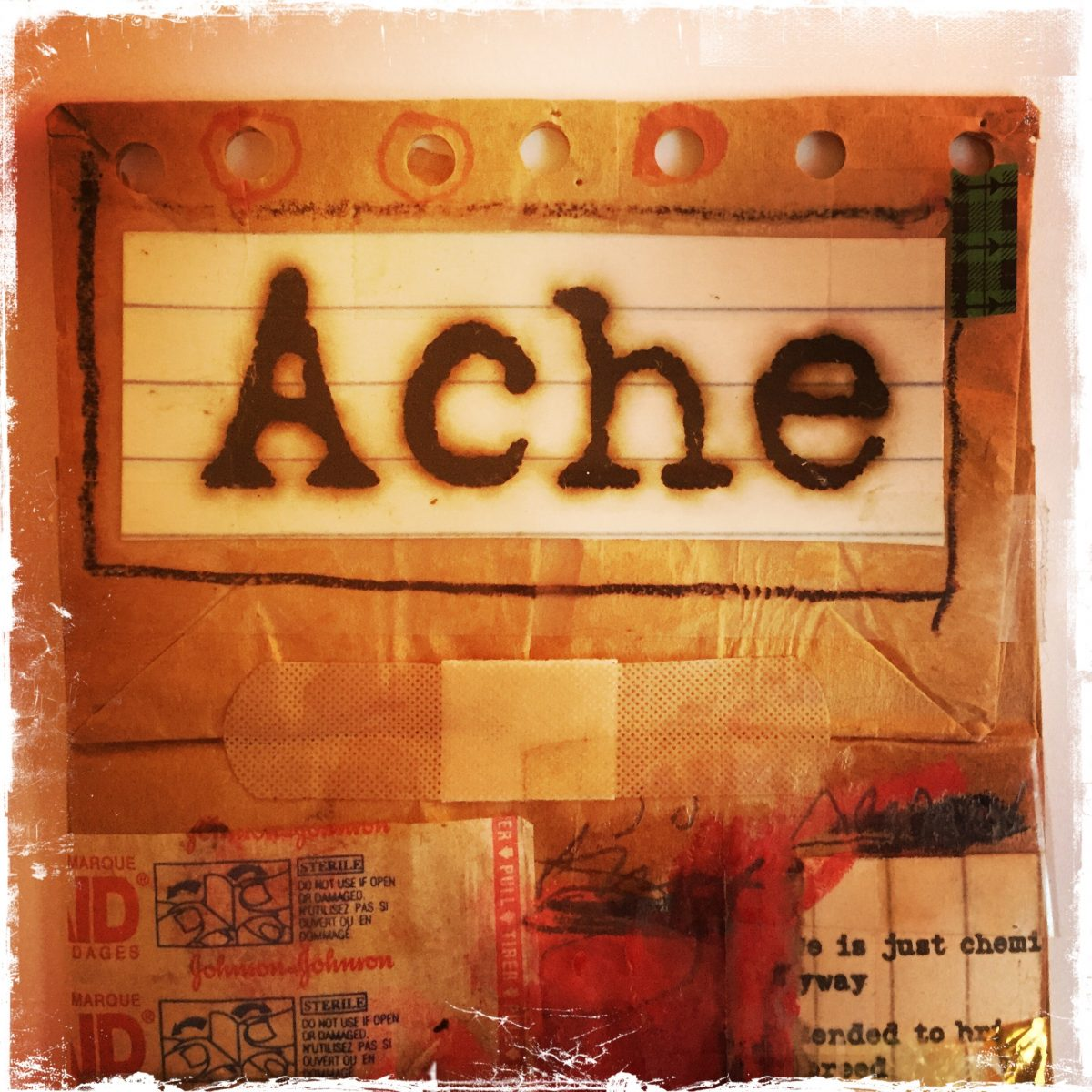 "Detail of collage titled ""Ache"" by Barbara Sinclair"