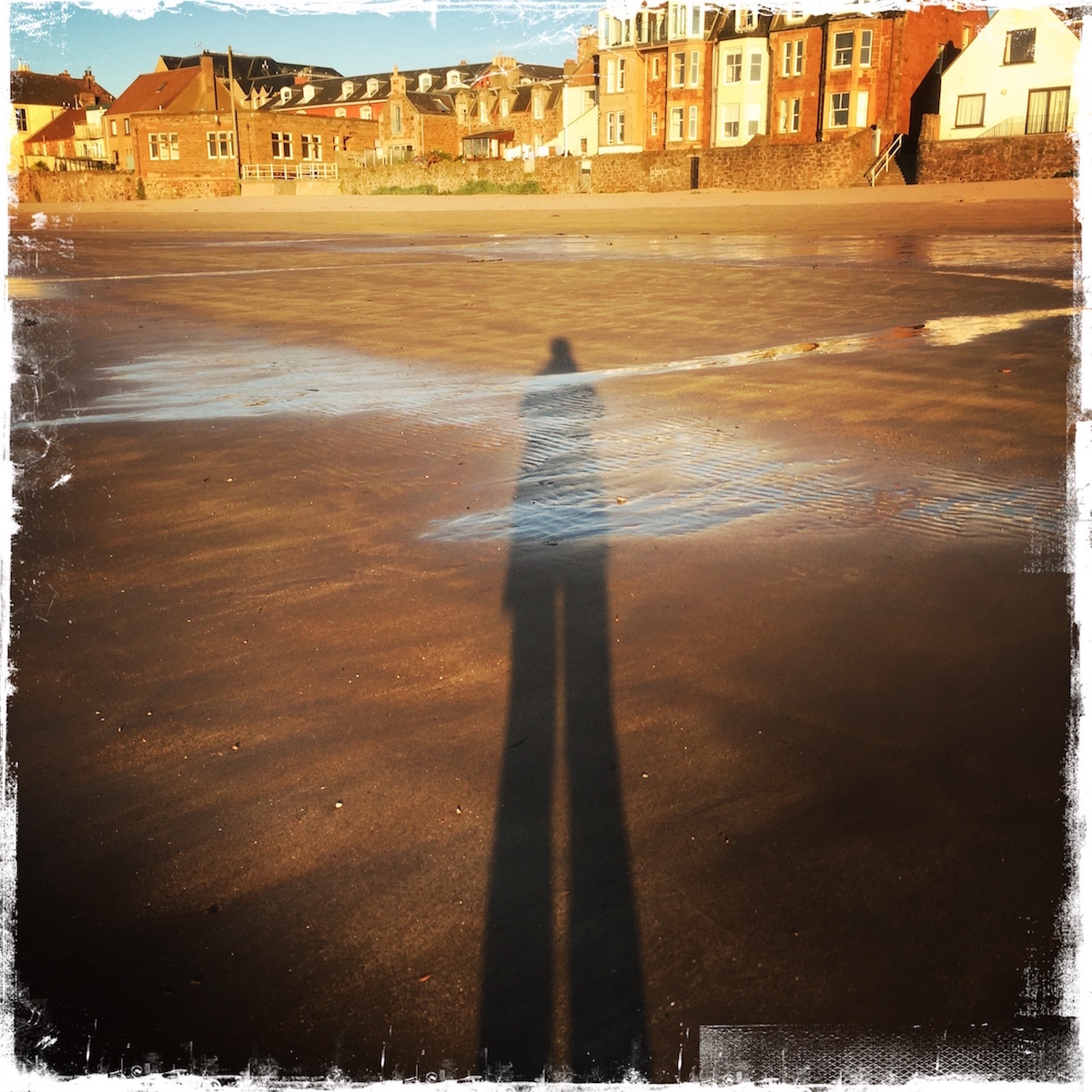 Beach shadow. North Berwick, Scotland. Photo by Barbara Sinclair