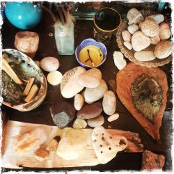 Shrine of rocks and other finds from Nature. Photo by Barbara Sinclair