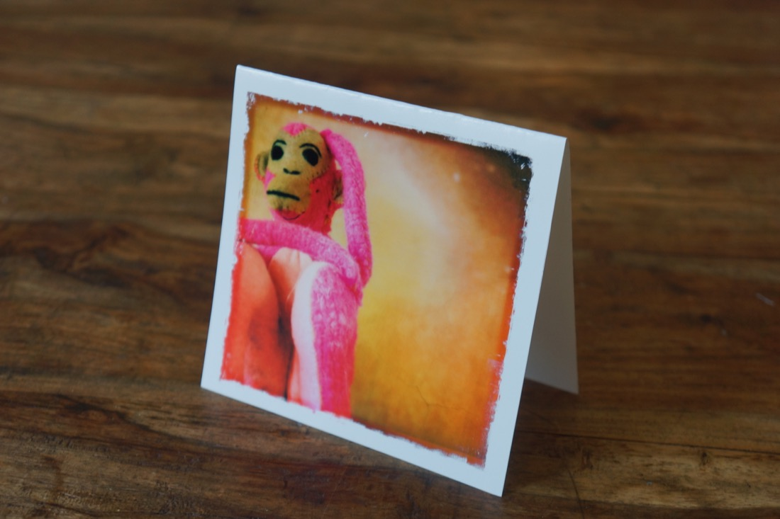 Healing Pink Monkey Note Card by Barbara Sinclair
