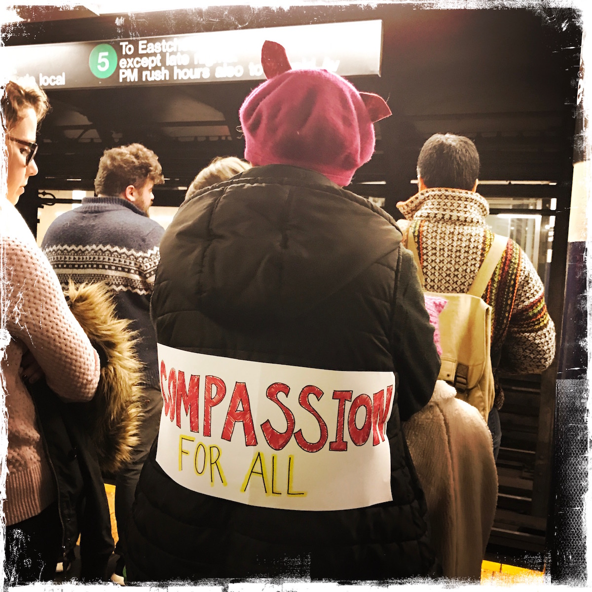 My Bleeding Heart Is Aching, Women's March NYC, Photo by Barbara Sinclair