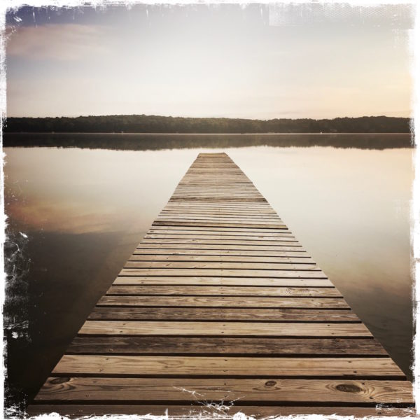 Wooden Dock Note Card, Long Lake, Northern Michigan, Photo by Barbara Sinclair
