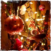 Vintage Ornaments on Cactus, photo by Barbara Sinclair, holidays