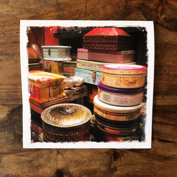 Vintage Tins from India Note Card, photo by Barbara Sinclair